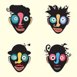 Ensemble de visages drôles colorés de clown illustration libre de droits
