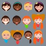 Ensemble de visages du ` s d'enfants de bande dessinée Photos libres de droits