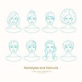 Ensemble de visages femelles avec différentes coiffures Photo stock