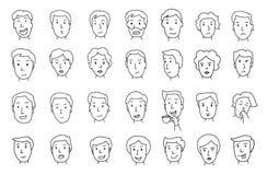Ensemble de visages de peuples Différentes émotions Peint à la main Lignes dans le croquis de crayon Images stock