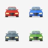 Ensemble de voitures dans icônes plates de style de différentes couleurs illustration libre de droits