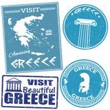 Ensemble de voyage aux timbres de la Grèce illustration de vecteur