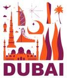 Ensemble de voyage de culture de Dubaï illustration libre de droits