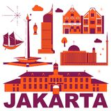 Ensemble de voyage de culture de Jakarta illustration de vecteur