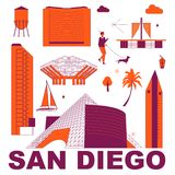 Ensemble de voyage de culture de San Diego illustration stock