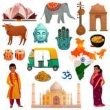Ensemble de voyage d'Inde illustration de vecteur