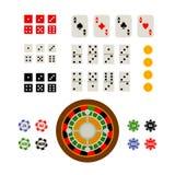 Ensemble de vue de surface plane d'articles de jeu et de casino Photos libres de droits