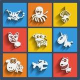 Ensemble de Web 9 et d'icônes mobiles d'animaux. Vecteur. Images libres de droits