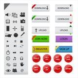 Web et icônes et boutons de multimédia illustration de vecteur