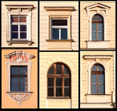 Ensemble de Windows de Cracovie, Pologne Photographie stock libre de droits