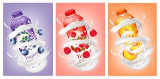 Ensemble de yaourts avec les baies et le fruit illustration stock