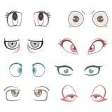 Ensemble de yeux colorés de bande dessinée Images libres de droits