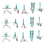 Ensemble de yoga d'icônes avec des poses d'hamac Photographie stock