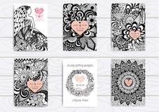Ensemble de zentangle tiré par la main sur le calibre A4 pour la copie Calibre de design de carte de mariage illustration stock