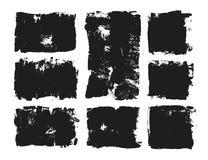 Ensemble de zone de texte rectangulaire Rayure grunge de peinture Course de brosse de vecteur Collection d'isolement par noir de  illustration libre de droits