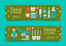 Ensemble dentaire de clinique d'illustration de vecteur de bannières Conception web de soins dentaires Placez des outils et de l' illustration de vecteur