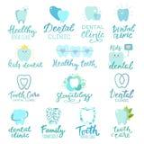 Ensemble dentaire de logotype de soin d'art dentaire de lettre des textes de stomatologie d'icône de toothcare de lettrage de cli Images stock