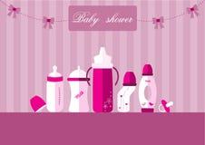 Ensemble des bouteilles à lait de bébé et de la tétine, conception pour des cartes de fête de naissance, illustrations de vecteur Image stock