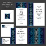 Ensemble des cartes d'invitation avec l'ornement bleu Stockez l'ouverture Images stock