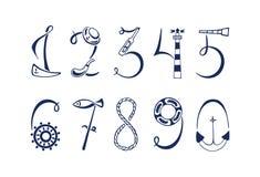 Ensemble des chiffres marins Illustration tirée par la main de vecteur illustration de vecteur