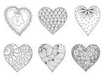 Ensemble des coeurs tirés avec des fleurs et des plantes pour le jour ou les mariages du ` s de Valentine Image stock