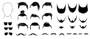 Ensemble des coiffures, des barbes, des moustaches et des verres des hommes illustration stock