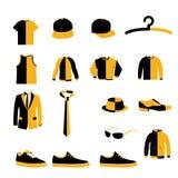 Ensemble des hommes vêtements de mode et vecteur et icône de conception d'accessoires illustration de vecteur