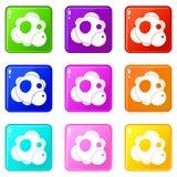 Ensemble des icônes 9 d'atome Image libre de droits