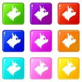 Ensemble des icônes 9 de chien de Pinscher Image stock