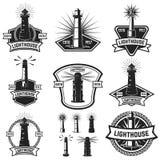 Ensemble des insignes avec des phares Éléments de conception pour le logo, La Photos libres de droits