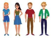 Ensemble des jeunes Une collection d'étudiants dans le style de bande dessinée Constructeur d'un adulte Illustration de vecteur d Photographie stock libre de droits