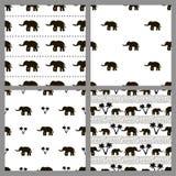 Ensemble des modèles sans couture avec des éléphants Images stock
