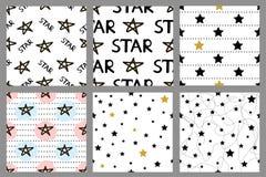 Ensemble des modèles sans couture avec des étoiles Photo stock