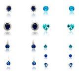 Ensemble des neuf paires de boucles d'oreille de diamant Photo stock