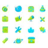 Ensemble des produits des enfants d'icônes illustration stock