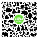 Ensemble des silhouettes de l'animal du monde Images libres de droits
