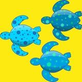 Ensemble des tortues de mer plates simples décorées par des modèles Photo stock