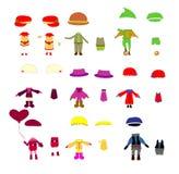 Ensemble des vêtements des enfants, éléments de conception de vecteur illustration stock