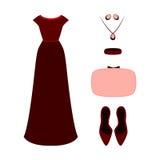 Ensemble des vêtements des femmes à la mode Équipement des WI de robe de soirée de femme Image libre de droits