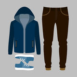 Ensemble des vêtements des hommes à la mode Équipement de blazer, de pantalon et d'accessoires de l'homme La garde-robe des homme Images stock