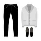 Ensemble des vêtements des hommes à la mode Équipement de cardigan, de pantalon et d'accessoires de l'homme La garde-robe des hom Photos stock