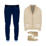 Ensemble des vêtements des hommes à la mode Équipement de cardigan, de pantalon et d'accessoires de l'homme La garde-robe des hom Images stock
