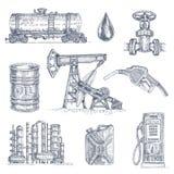 Ensemble dessiné d'icône d'industrie pétrolière