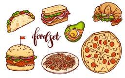 Ensemble différent d'aliments de préparation rapide de pays Illustration tirée par la main de repas d'isolement par vecteur illustration de vecteur