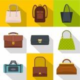 Ensemble différent d'icône de bagages, style plat Images libres de droits