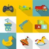 Ensemble différent d'icône de jouets, style plat Photos stock