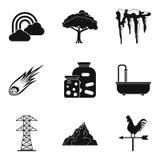 Ensemble différent d'icône de temps de saison, style simple Photos stock