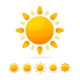 Ensemble différent d'icône de Sun Vecteur Image libre de droits