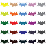 Ensemble différent de batte de Halloween de couleur Photographie stock libre de droits