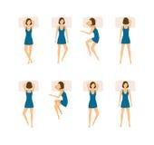 Ensemble différent de femme de poses de sommeil Vecteur illustration stock